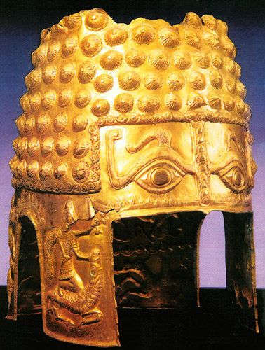 Gold and Silver Armour of the Getian-Dacian Elite. Military Equipment and Organization. Poiana Cotofenesti ceremonial gold helmet  with bumps after Achemenide fashion, Romania.