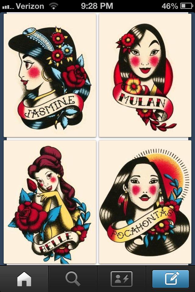 traditional disney princesses tattoos i want it