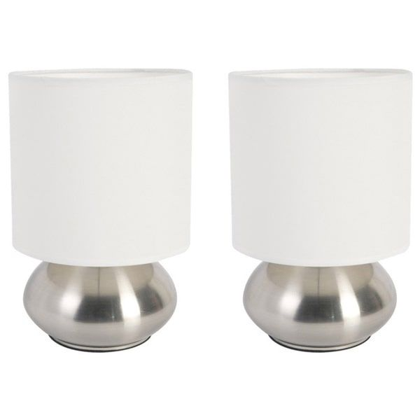 Simple Designs Gemini Mini Lamp With Touch Base And Fabric Shade (Set Of 2)  (Ivory), Beige Off White