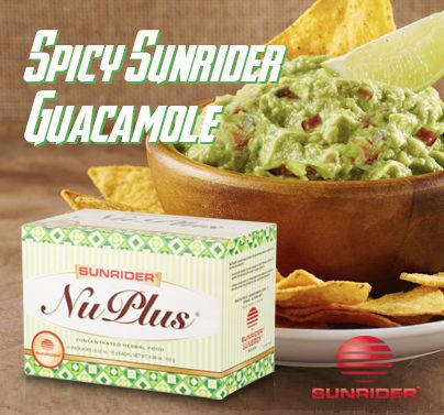 Spicy Sunrider Guacamole (Serves 4) 1 packet NuPlus® Original 2 avocados, peeled and pitted 1 cup chopped tomatoes 1/4 cup chopped onion 1/4 cup chopped cilantro 2 tablespoons lemon juice 1 jalapeno pepper, seeded and minced (optional) salt and black pepper to taste Directions Mash avocados in a bowl until desired consistency is reached. Mix NuPlus®, tomatoes, onion, cilantro, lemon juice, and jalapeno into the mashed avocado. Add salt and black pepper to taste.
