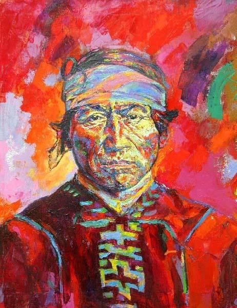pintura de Nativo Chileno..cultura Mapuche..