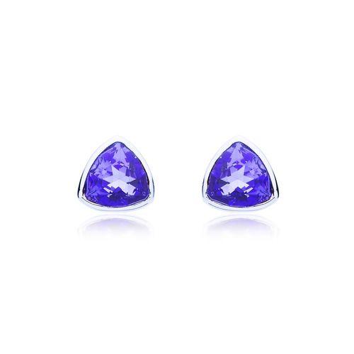 Trillion Brief Stud Earrings with Tanzanite Swarovski® Crystals
