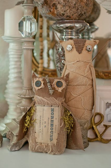keep your halloween decor cute with these mummy owl friends - Rustic Halloween Decorations
