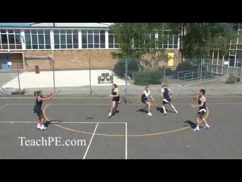 Netball Drill - Shooting - Circle Rotation with Defender  with one defender responsibility on ball carrier to pass to the free player