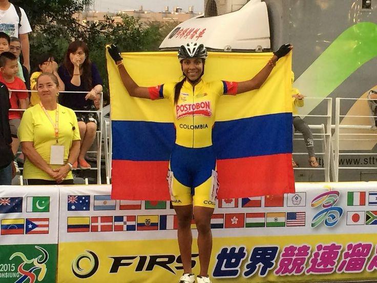 Hellen Montoya, campeona mundial de ruta en el circuito de 400 metros mayores damas, en el 2015.