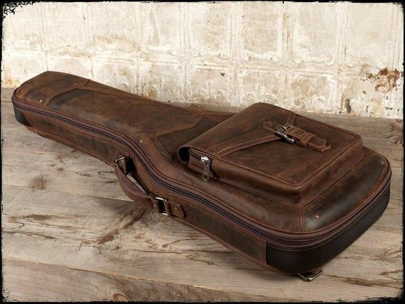 The Revelator Full Grain Leather Guitar Case Whiskey Guitar Case Guitar Bag Leather Guitar Straps