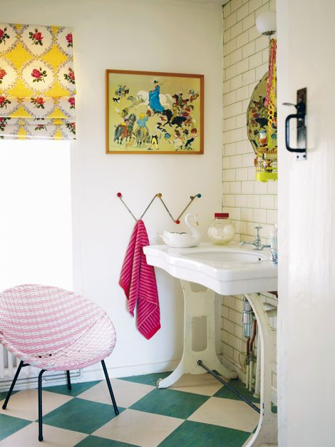 Fabulous bathroom, styled by Emily Chalmers of Modern Vintage Style.    Love the floor and the subway tile/darker grout wall.  For basement.