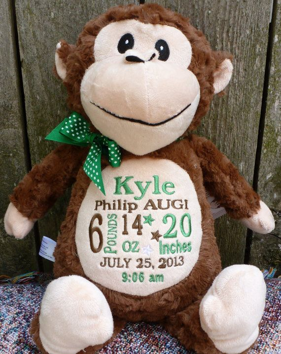 Personalized Baby Gift Monogrammed Monkey Birth Announcement PERSONALIZED by…