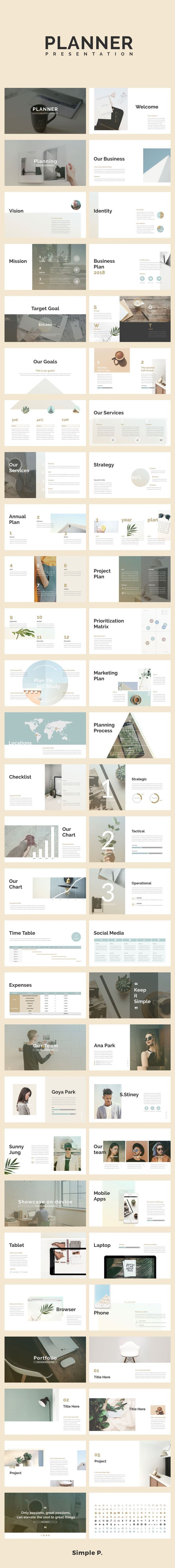 Planner PowerPoint Template. 2018 Business Planning #presentation