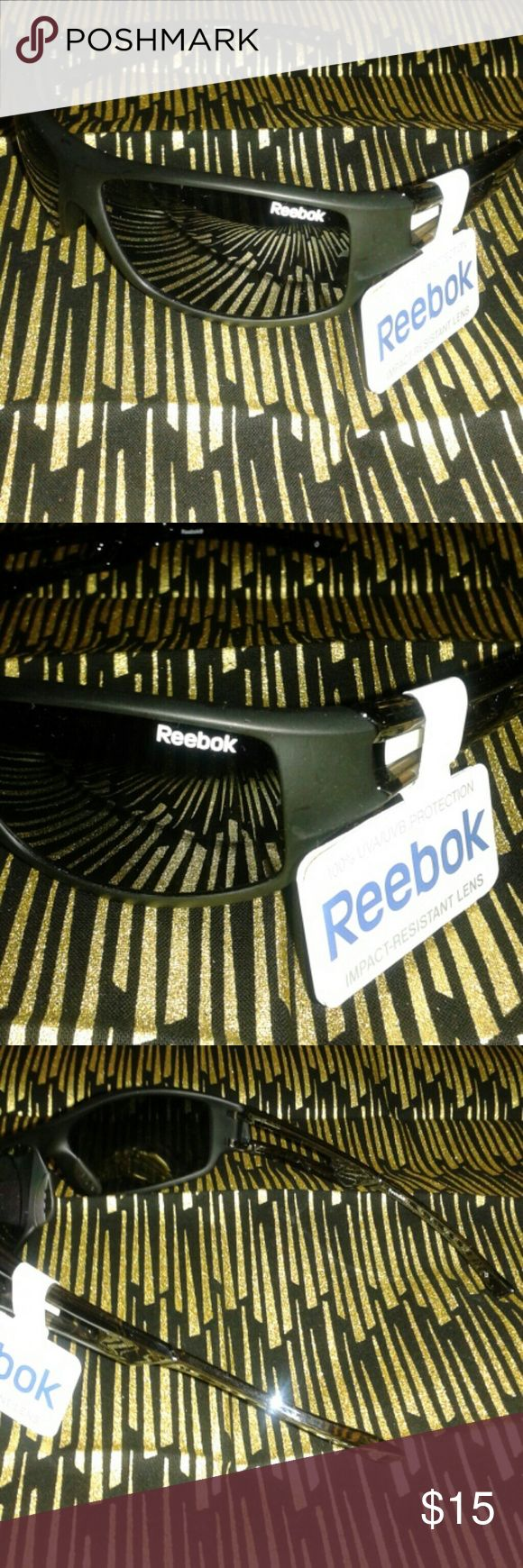 NWT REEBOK IMPACT RESISTANT SPORTS GLASSES Black on black chrome frames. Black lenses. 100% UVA/UVB PROTECTION. Reebok Accessories Sunglasses