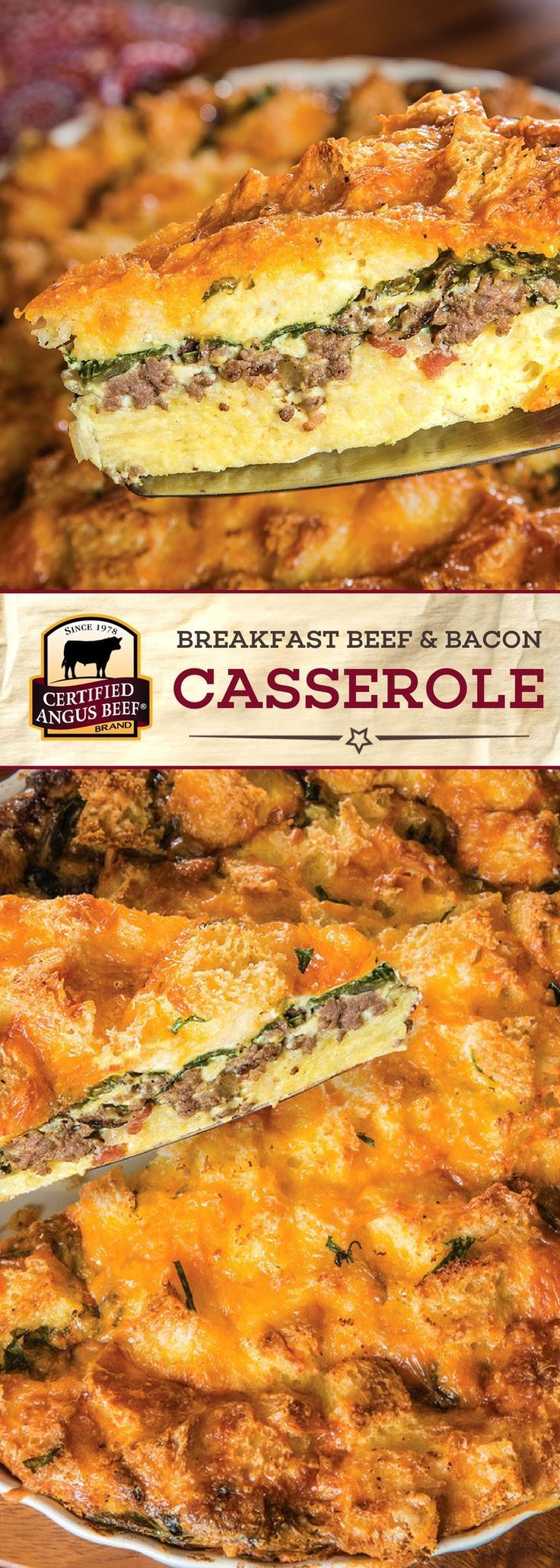 Certified Angus Beef®️️️️️️️ brand Breakfast Beef & Bacon Casserole is an EASY recipe that you can make ahead of time! This DELICIOUS casserole recipe is made with the best ground beef, bacon, and CHEESE for a perfectly seasoned and heartwarming breakfast. Perfect for a family gathering! #bestangusbeef #certifiedangusbeef #beefrecipe #easyrecipes #breakfastrecipes #casserolerecipes