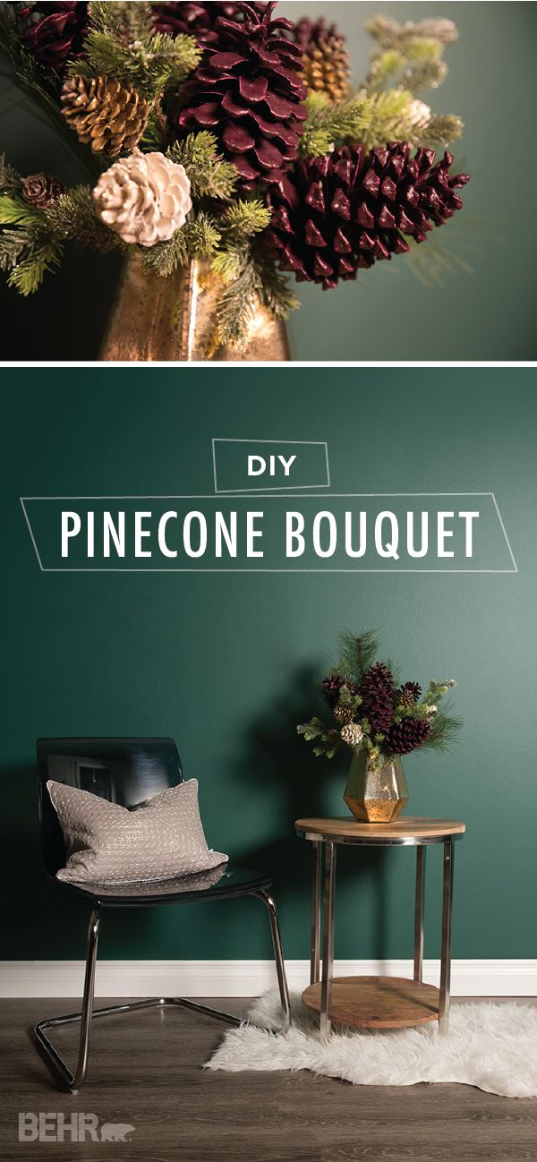 Liven up your holiday home decor with a little help from this DIY pinecone bouquet. Paint-dipped pinecones, pine tree branches, and festive glitter accents come together to create a rustic floral centerpiece. Use the dark purple hue of Nocturne Shade by BEHR Paint to add a sense of vintage elegance to this creative winter project.