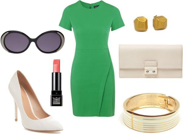 Summer Wedding Outfit Ideas Green Shift Dress paired with white and gold accessories. More on the blog.