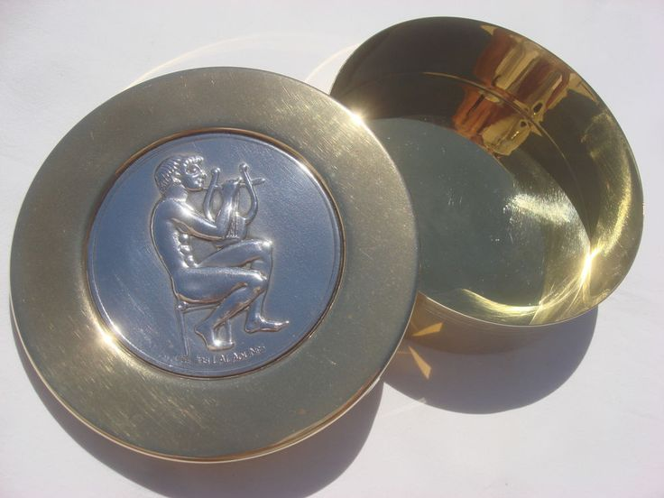ILIAS LALAOUNIS GILDED BRASS BOX INLAID STERLING SILVER 925 MEDALLION GOD APOLLO #ILIASLALAOUNIS