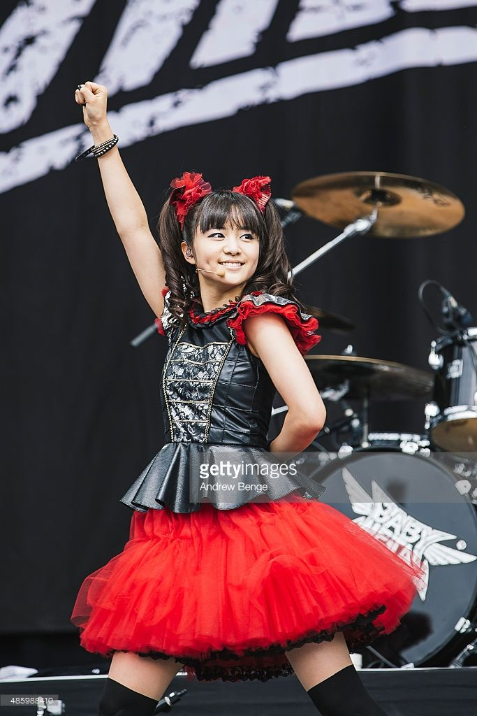 Moametal of Babymetal performs on the main stage during day 3 of Leeds Festival at Bramham Park on August 30, 2015 in Leeds, England.