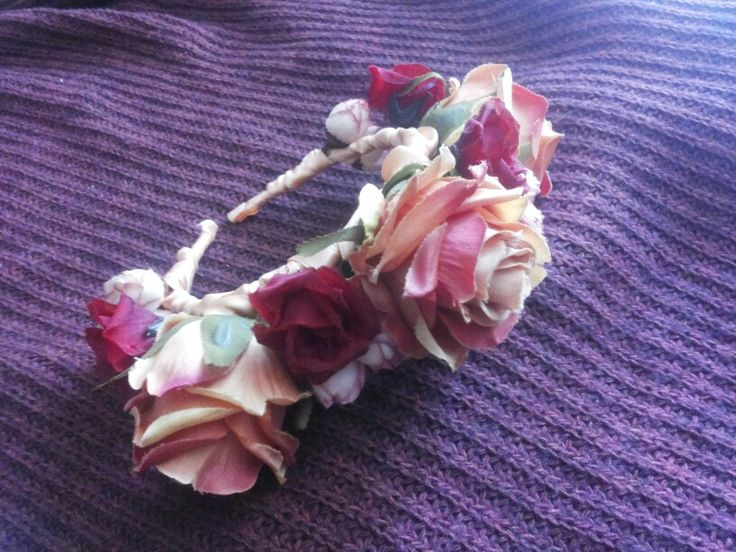 #Roses #Crown #Headpiece by Cristina Biella ( www.facebook.com/elanorsoulcreativity ) #headdress #elanorlightart #flowers