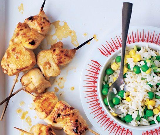 Oriental chicken skewers