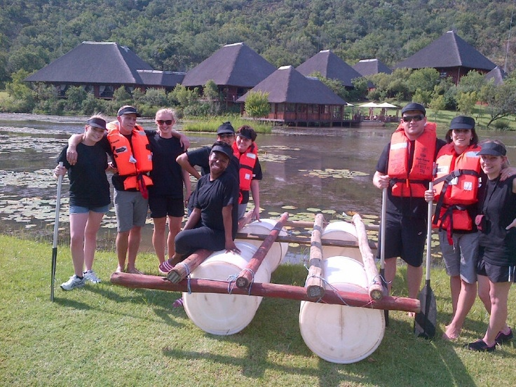 Upstream Advertising busy with Raft Building - another team competing in the Competition on the dam at Intundla. Together with Laser Adventures. www.laseradventures.co.za