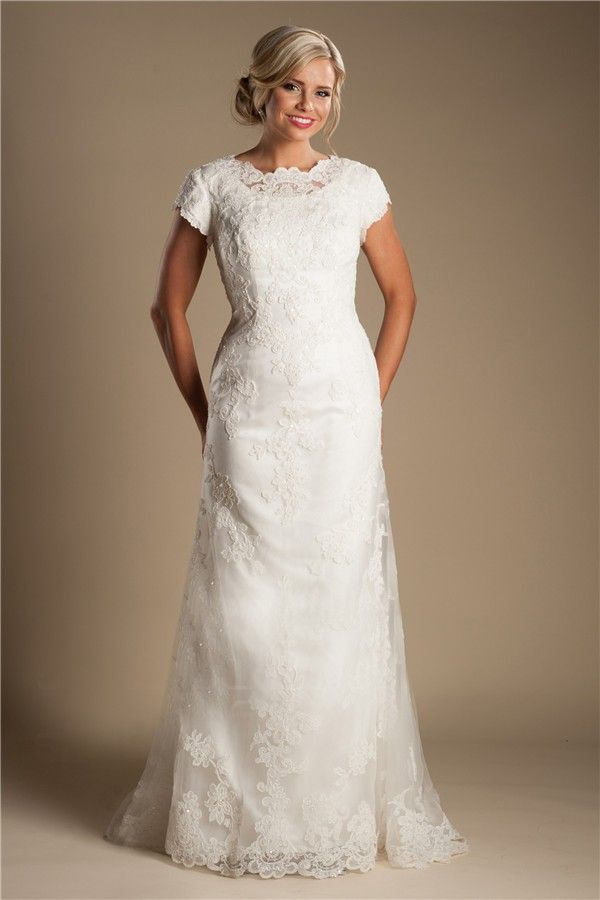 Modest high neck full back short sleeve ivory lace wedding for Short ivory wedding dress