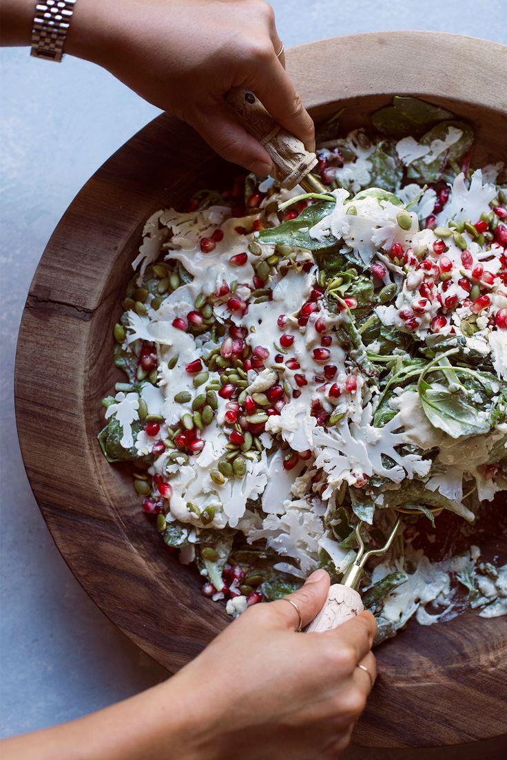 Fall Salad with Roasted Pepitas and Tahini Dressing   HonestlyYUM (honestlyyum.com)
