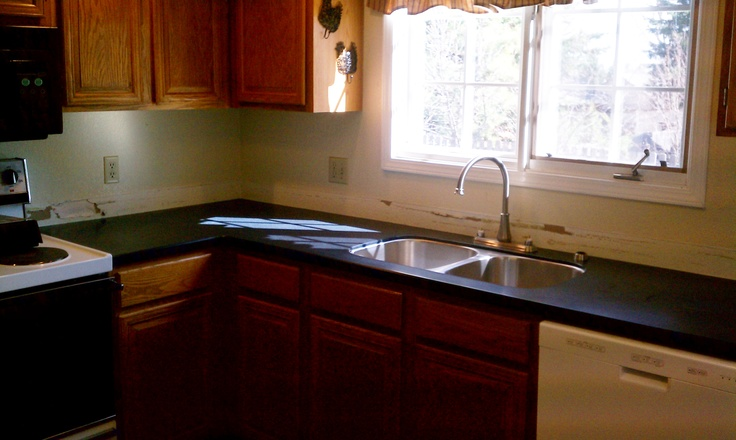 The Redeo Avenue Countertops   After Installation   Countertops: Allen And Roth  Solid Surface In Black Tie With A Single Bevel Edge ~ Sink: Alan Au2026