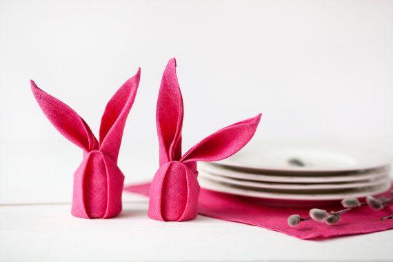 Tovaglioli di lino Tovaglioli - Tovaglioli rosa set di 6 - Pasqua brillante rosa tovaglioli di lino - Pasqua