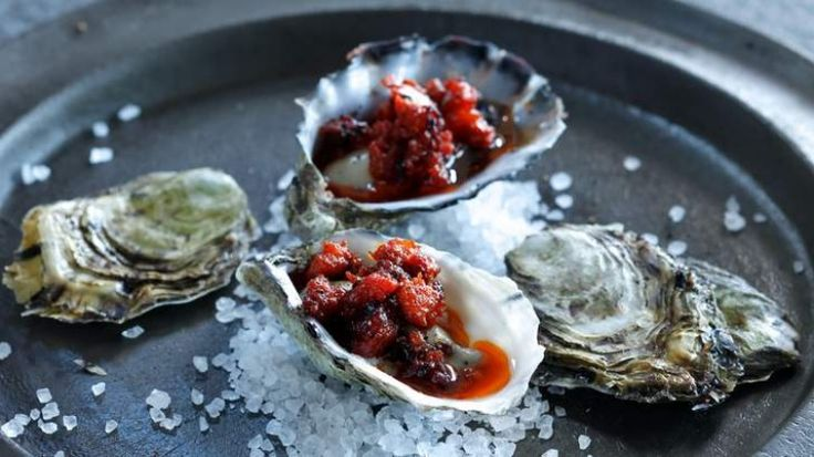 Grilled oysters with chorizo vinaigrette