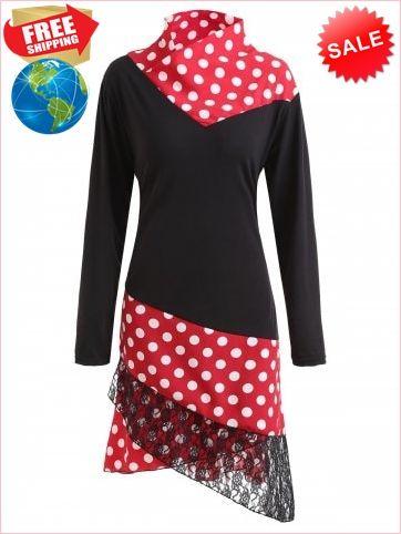 545042f4f72 Best Prices Lace Panel Polka Dot Asymmetrical Plus Size Dress 1584320  NMtbiCAWrRIXqVmULBxK Cheap Sale  RoseGal.com