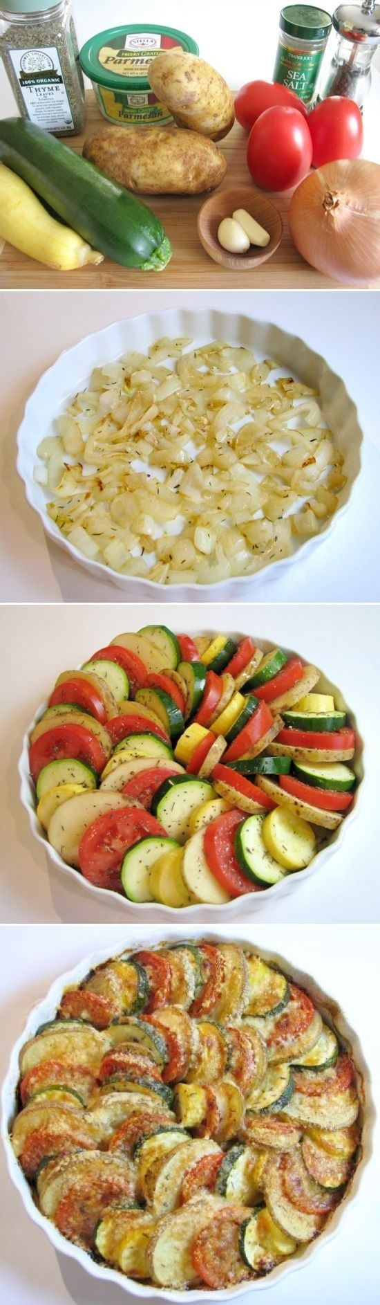 Parmesan Vegetable Spiral: a bed of onions is topped by a medley of veggies (tomatoes, potatoes, squash