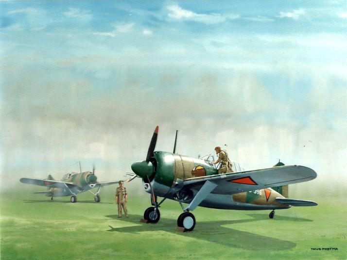 De Brewster Buffalo jager was in 1941 al sterk verouderd. Qua snelheid en bewapening was hij voor de Japanse landmachtjager, de Nakajima Oscar, nog wel partij maar tegenover de Mitsubishi Zeromet zijn effectieve kanonbewapening kon hij niet veel inbrengen. De klimsnelheid en de diensthoogte van de Zero waren bovendien veel groter. Desondanks vloog kapitein-vlieger J.P. (Jaap) van Helsdingen op de ochtend van 7 maart 1942 met vier nog overgebleven Buffalo's naar Lembang om troepen luchtsteun…