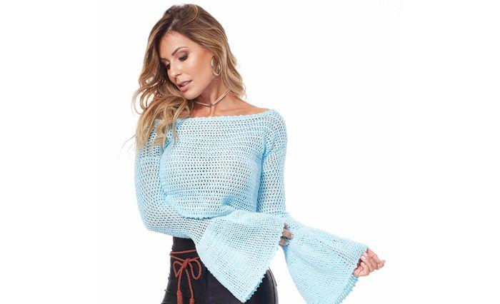 Blusa de Crochê Azul Claro - Linha Charme Candy Colors - Blog do Bazar Horizonte - Maior Armarinho Virtual do Brasil