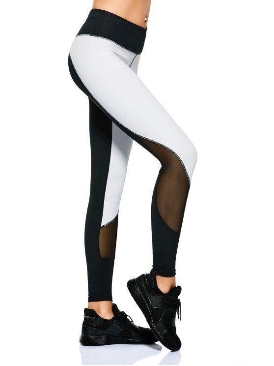Mesh Panel Color Block Sporty Leggings - WHITE/BLACK M