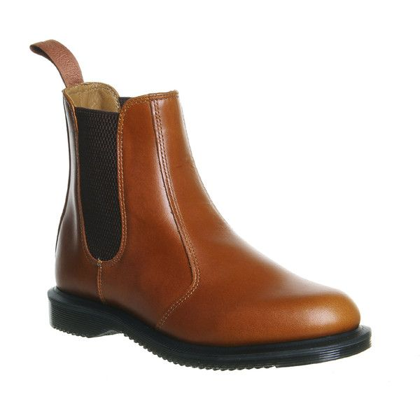 Dr. Martens Kensington Flora ($160) ❤ liked on Polyvore featuring shoes, boots, ankle booties, ankle boots, tan leather, women, tan chelsea boots, dr martens boots, slip on boots and short boots