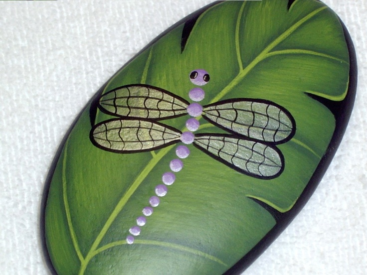 Image detail for -LAVENDER DRAGONFLY on green leaf, hand painted rock, garden art, patio ...