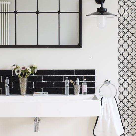 Graphic black and white bathroom | Urban hotel-style bathroom decorating ideas | decorating | PHOTO GALLERY | Housetohome.co.uk