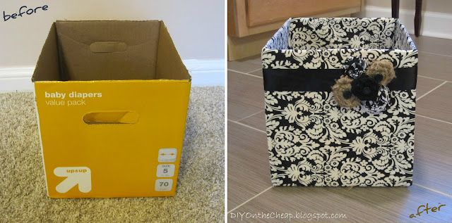 Easy no-sew version of fabric-covered diaper boxes.  A cute and cheap storage solution!: No Sewing, Storage Boxes, Fabrics Cov Diapers, Diapers Boxes, Covers Diapers, Easy Storage, Paper Boxes, Fabrics Covers, Storage Solution