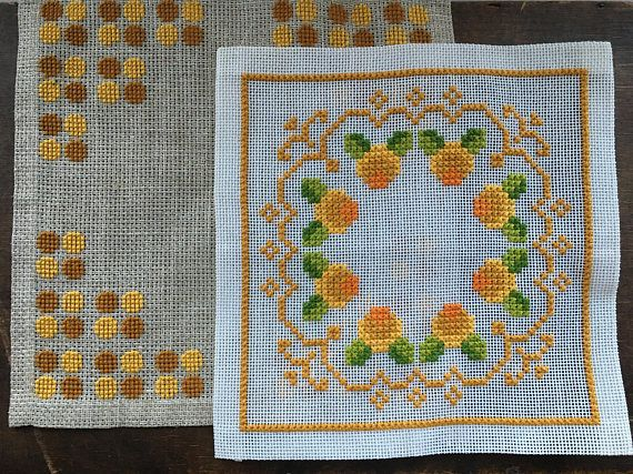 Embroidered Cross Stitched napkin set Embroidered Orange brown Green floral napkin Square floral napkin This is a beautiful cross stitch Scandinavian napkin from the late 60s - early 70s - I dont know exactly how old it is Measurements: Approx 28.5 x 29cm and 32 x 32cm Condition: