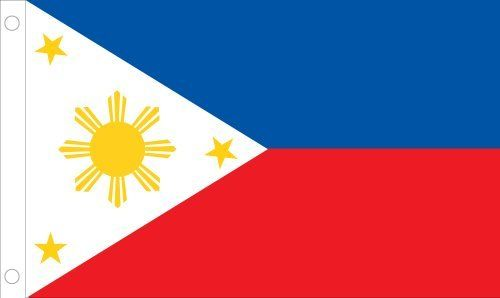 """Allied Flag Outdoor Nylon Philippines Country Flag, 3-Feet by 5-Feet by Allied Flag. $34.24. Made in the USA. Reinforced fly hem and two sturdy brass grommets. 100-percent heavyweight nylon. Durable and long lasting. Outdoor Nylon Philippines 3-foot by 5-foot Flag.  Each U.N. member flag illustrated is the """"government"""" flag, used by that nation's government and displayed at U.N. headquarters in New York.. Save 25% Off!"""