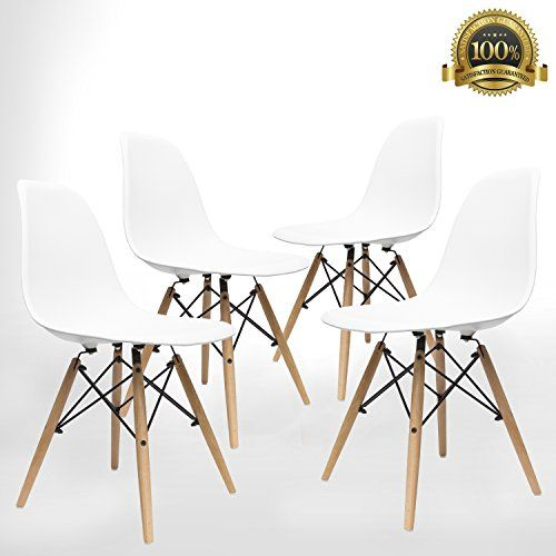 UrbanMod Contemporary Furniture, Eames Style Kitchen Dining Chairs (Set Of 4), Kid Friendly Modern Stylish Eames Chair Set,! Safe, ABS Easy-Clean White Plastic, 6 Minute Assembly!
