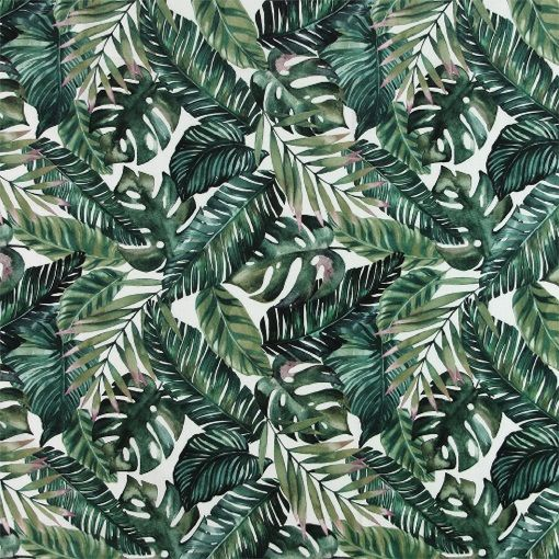 Baumwolle, Gebürstet, tropische Blätter - STOFF & STIL