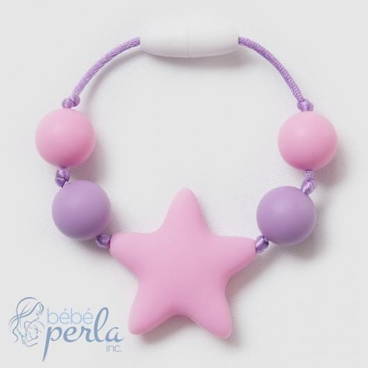 Bébé Perla makes fun silicone chewable kids bracelets for your daughter to chew on! We all know kids LOVE to put everything in their mouth and chew, that includes biting their nails! Let your little one chew on this bracelet safely! With a breakaway clasp and knots between each bead, they are safe for girls ages 2+.