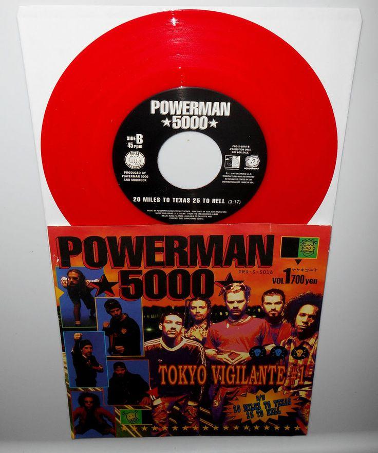"""POWERMAN 5000 tokyo vigilante , 20 miles to texas 7"""" Record RED Vinyl 1997 promo #HardRockIndustrial"""
