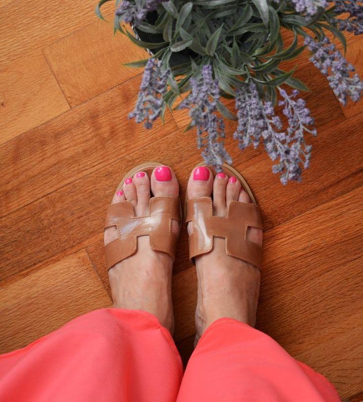 Image of Brown Greek Leather Sandals, Brown H Slides, Brown Greek Sandals, Many Colors