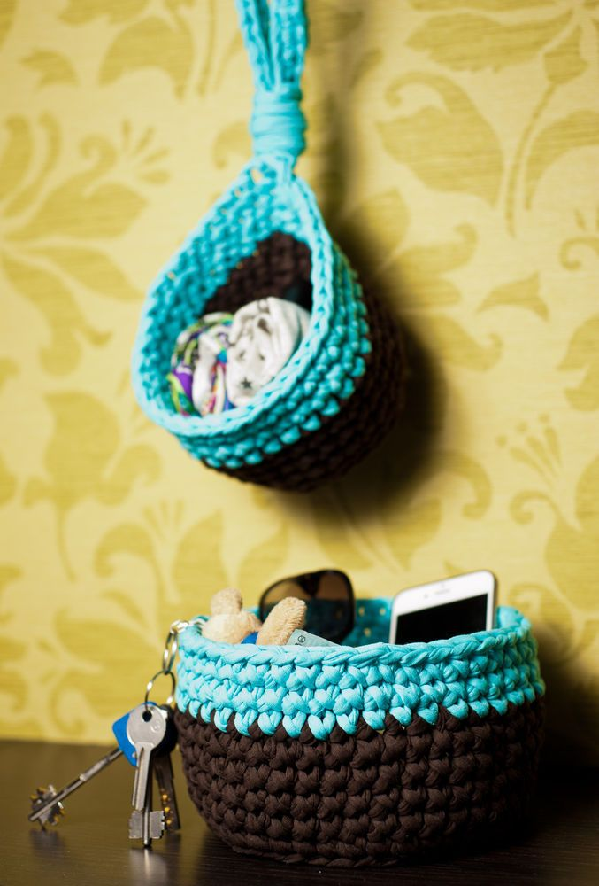 2x Crochet storage basket with handles made of zpagetti (t-shirt, trapillo) yarn. | eBay!