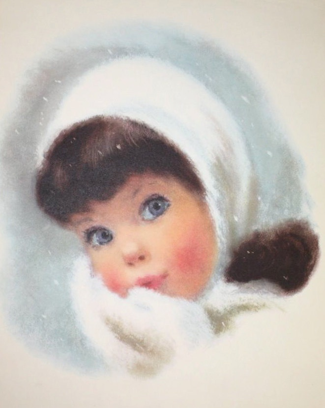 Northern Girls- illustrated by Frances Hook, late 1950s- Little Girl in Winter Snow