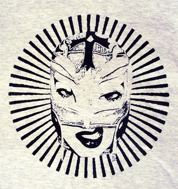 Lucha Libre Pinup Mexican Wrestling grey mens  tshirt by CathsArt, €16.00