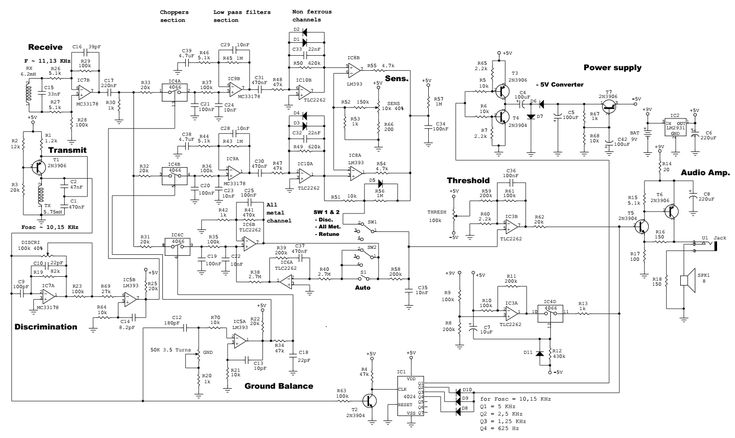 Schematic diagram of Tesoro Bandido II metal detector