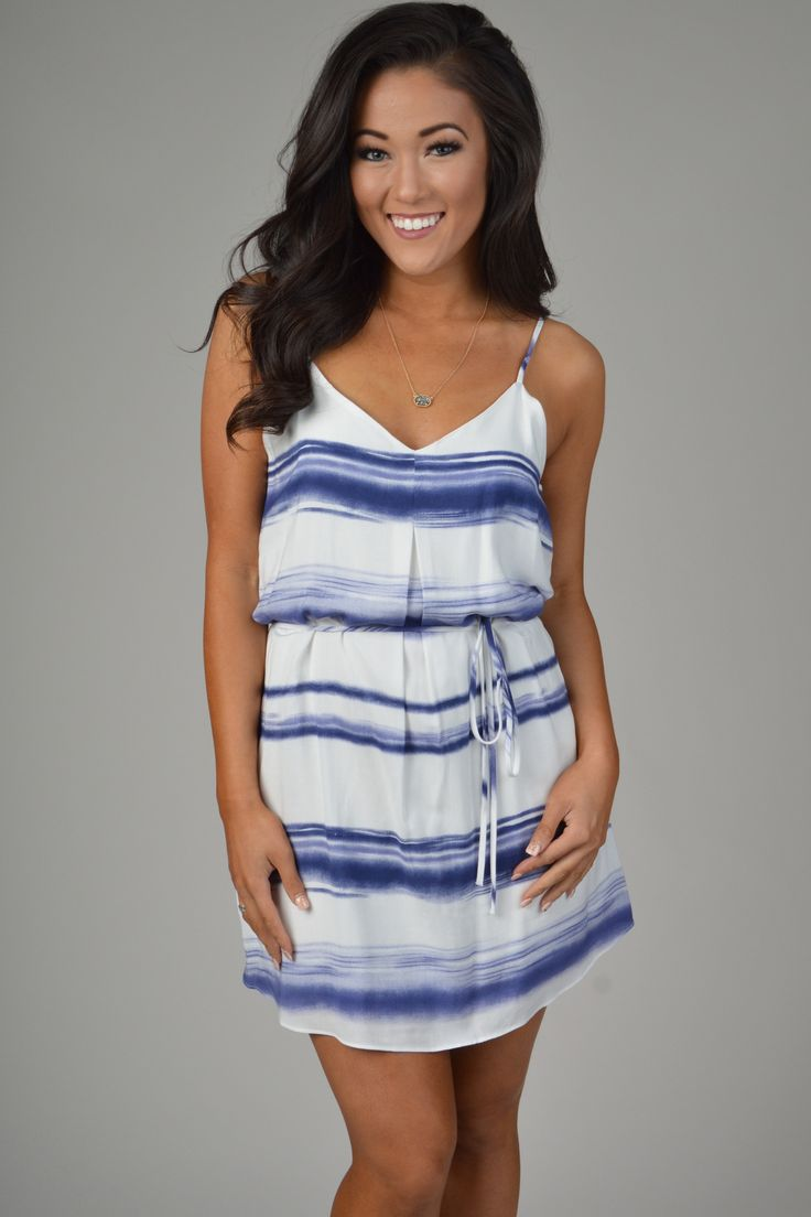 White & Blue Tie Dye Stripe Dress With Tie Belt