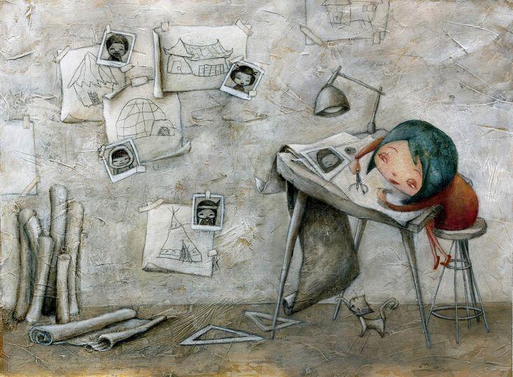 """Marilina Ricciardi - illustratrice - disegna uno dei sogni dei bambini raccolti nel libro Disognamo 2011  """"Il mio sogno è diventare un architetto. Costruire grattacieli e castelli per i bambini che vivono nella povertà e non hanno una casa."""" - Benedetta, 11 anni"""