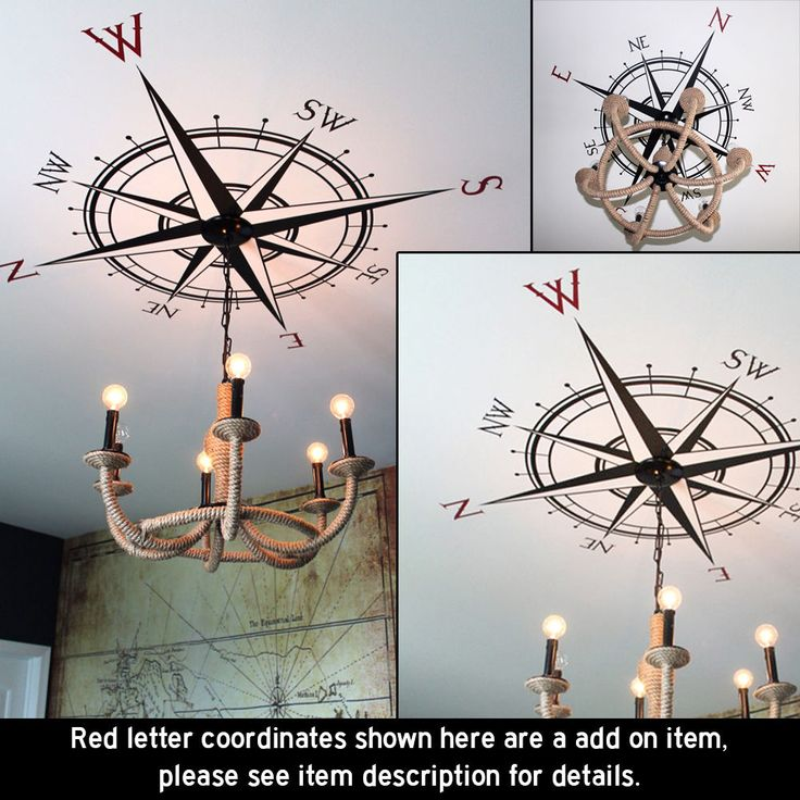 Compass Rose Vinyl Wall or Ceiling Decal - nautical map removable sticker K514 #Oracal